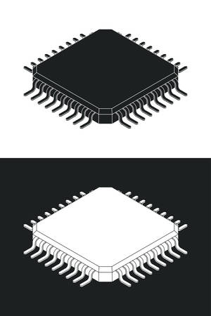Microchip processor logotype template. Monochrome isometric vector illustration