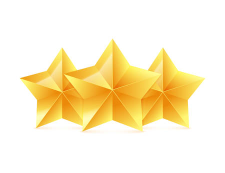 Three 3D gold stars on white background. Victory award. Vector illustration