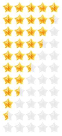 3D gold stars rating icon set. Isolated quality rate status level for web or app from five to zero. Vector illustration