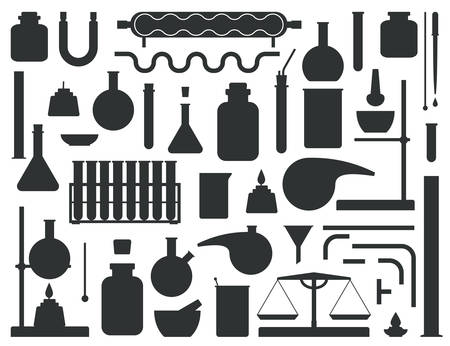 Set of chemical lab equipment silhouette. Laboratory constructor kit vector illustration.