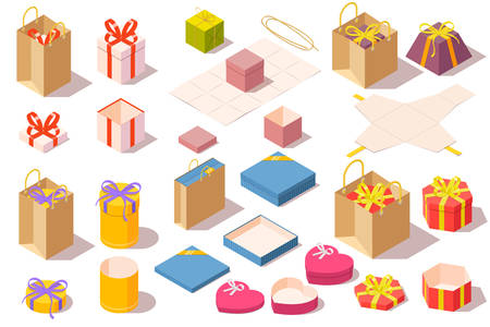 Set of gift boxes. Opened and closed colorful packaging isolated on white background isometric vector illustration.