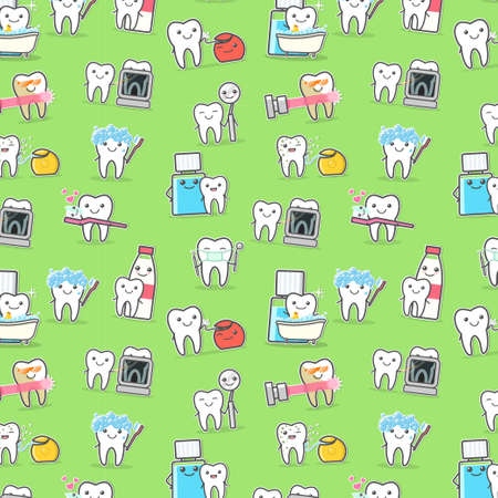 Healthy Teeth care treatment and hygiene seamless pattern Imagens