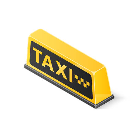 Yellow roof taxi sign isolated on white background. Isometric vector illustration Ilustração