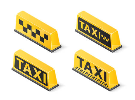 Yellow roof taxi sign set isolated on white background. Isometric vector illustration