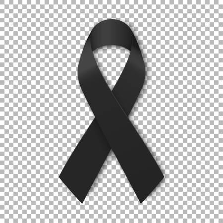 Black mourning ribbon on transparent background. Vector illustration.