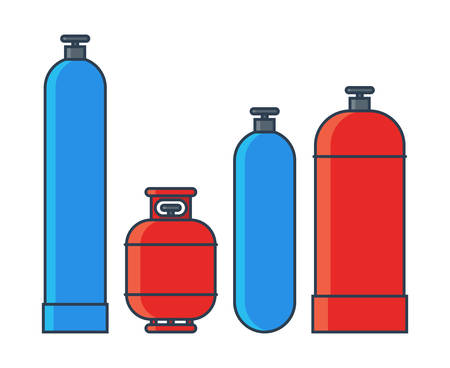 Zestaw zbiorników gazu. Różne zbiorniki gazu w stylu linii płaskiej. Ilustracja wektorowa