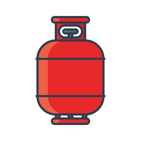 Flammable gas tank icon. Propane, butane, methane gas tank. Flat line vector illustration Illustration