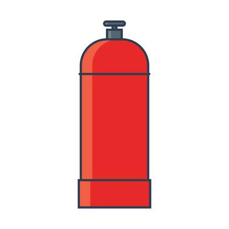 Flammable gas tank icon. Propane, butane, methane gas tank. Flat line vector illustration Illusztráció