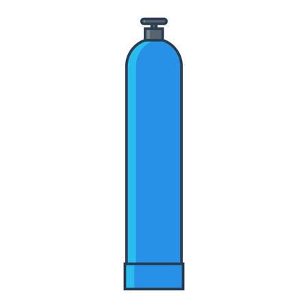 Blue Oxygen gas tank. Flat line vector illustration.
