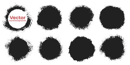 Set of black grunge abstract background templates. Brush paint ink round shaped elements. Vector illustration