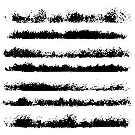 Set of different ink paint brush stroke borders isolated on white background. Vector illustration