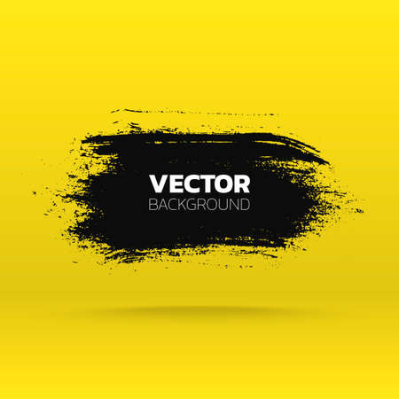 Abstract Grunge banner. Brush black paint ink stroke background. Vector template
