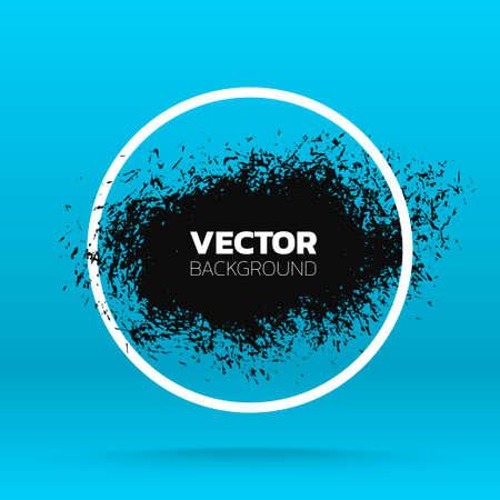 Grunge background. Brush black paint ink stroke over round frame. Vector illustration