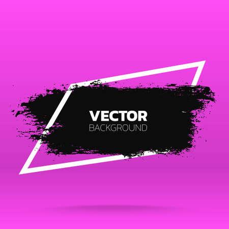 Grunge background. Brush black paint ink stroke over rombic frame. Vector illustration Stock fotó