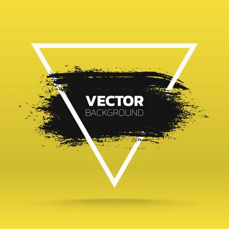 Grunge background. Brush black paint ink stroke over triangle frame. Vector illustration
