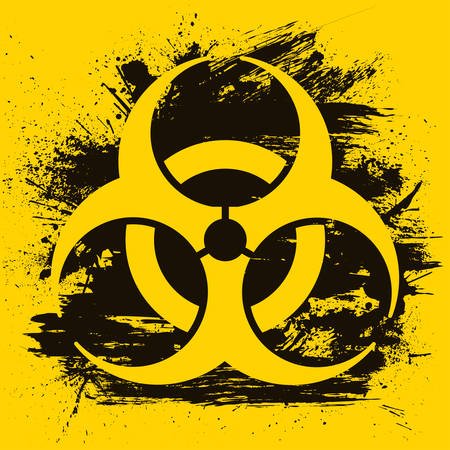 Biohazard dangerous sign on grunge background. Vector illustration