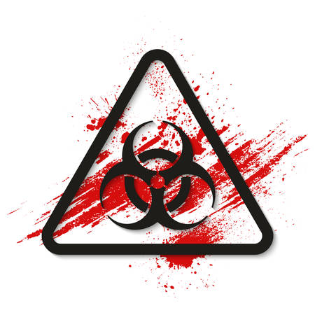 Biohazard dangerous sign on bloody background. Vector illustration