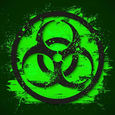 Biohazard dangerous sign on green slime background. Toxic waste vector illustration. Illusztráció