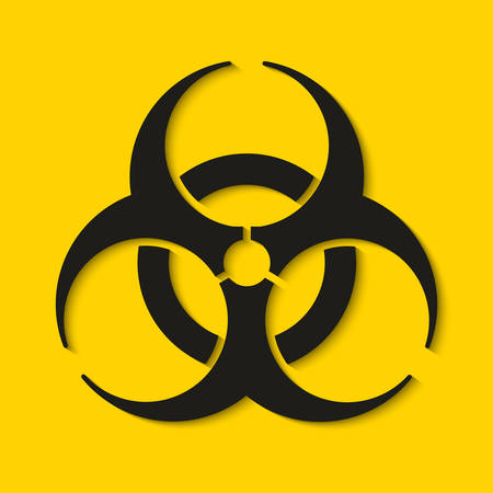Biohazard dangerous sign isolated on yellow background. Vector illustration