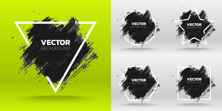 Set of Black grunge abstract background template. Brush paint ink stroke design over white frame. Vector illustration