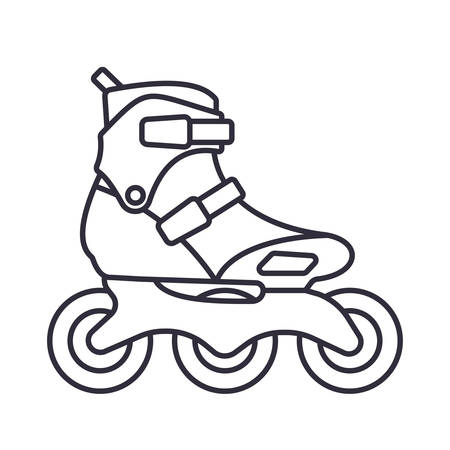 Inline Roller Skates icon isolated on white background. Outline vector illustration