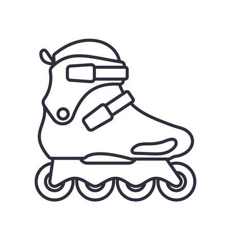 Freeskate Inline Roller Skates icon isolated on white background. Outline vector illustration