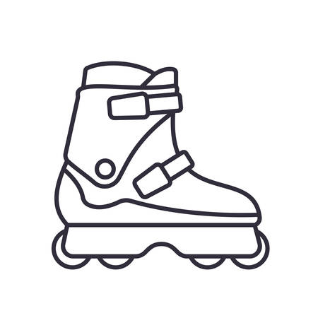 Aggressive Inline Roller Skates icon isolated on white background. Outline vector illustration