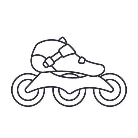 Inline Roller Skates icon isolated on white background. Outline vector illustration Illusztráció