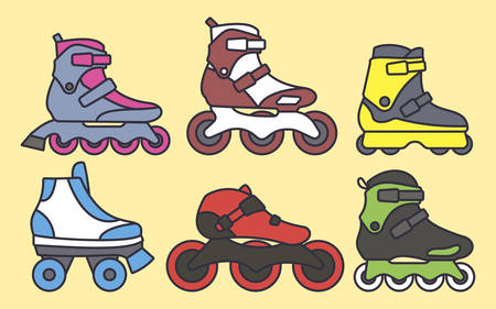 Set of Inline Roller Skates colored icons. Vector illustration