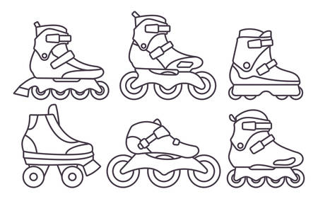 Set of Inline Roller Skates icons isolated on white background. Outline vector illustration