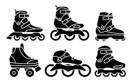 Set van Inline rolschaatsen pictogrammen geïsoleerd op een witte achtergrond. Silhouet vectorillustratie