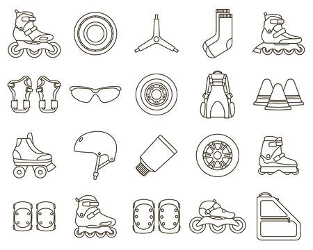 Set of Inline Roller Skates and accessories icons isolated on white background. Outline vector illustration.
