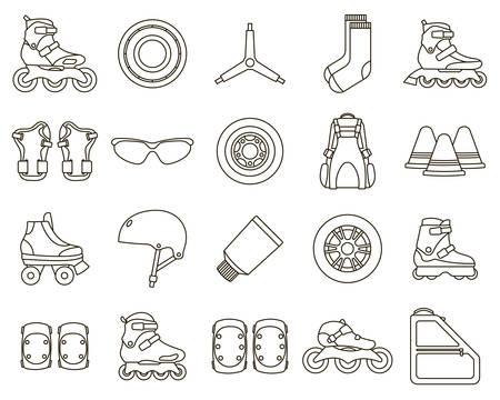 Set van Inline rolschaatsen en accessoires pictogrammen geïsoleerd op een witte achtergrond. Overzicht vectorillustratie.
