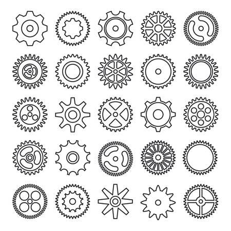 Cogwheel outline icons set isolated on white background. Vector illustration