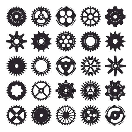 Cogwheel silhouette icons set isolated on white background. Vector illustration