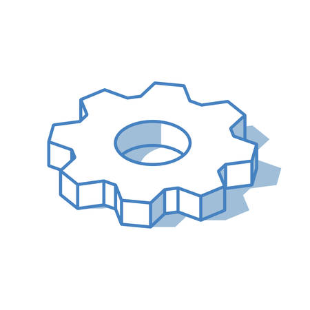 Cogwheel icon isolated on white background. Outline isometric vector illustration