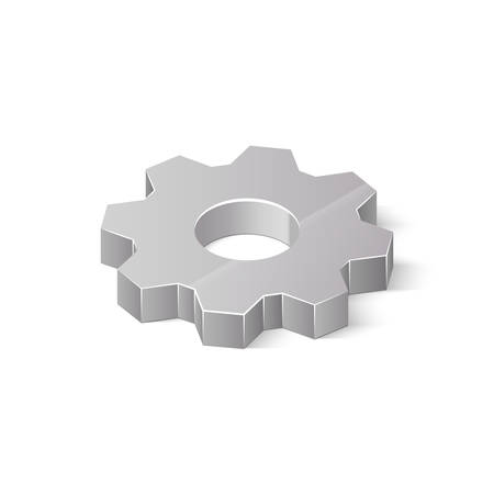 3D metal cogwheel isolated on white background. Isometric vector illustration