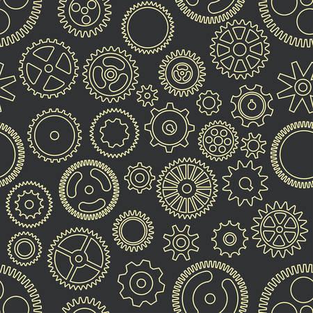 Gear cogwheels dark background. Vector seamless pattern
