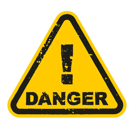 Grunge Danger sign isolated on white background. Vector illustration Stock Illustratie
