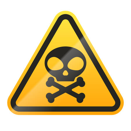 Danger Skull and bones sign isolated on white background. Vector illustration