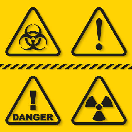 Set of danger signs isolated on yellow background. Vector illustration Stock Illustratie