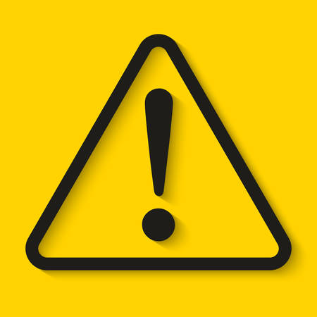 Danger sign on yellow background. Vector illustration