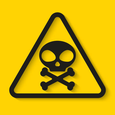 Danger Skull and bones sign on yellow background. Vector illustration Stock Illustratie