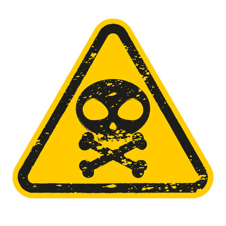 Grunge Danger Skull and bones sign isolated on white background. Vector illustration Stock Illustratie