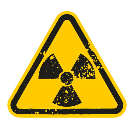 Grunge Danger radioactive sign isolated on white background. Vector illustration