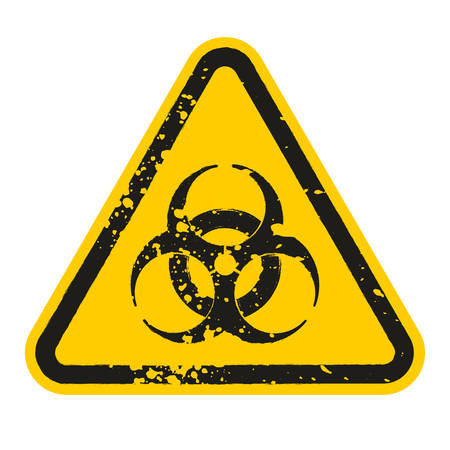Grunge Danger biohazard sign isolated on white background. Vector illustration Stock Illustratie