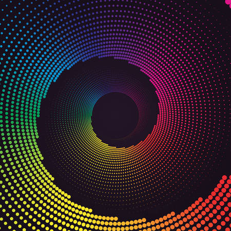 Colorful round spiral abstract rainbow dots background. Vortex Vector illustration