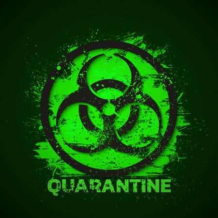 Quarantine sign. Biohazard danger virus warning. Vector illustration