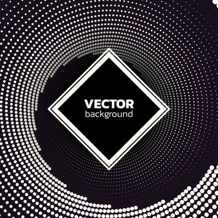 Halftone dotted vortex square background. Abstract monochrome vector illustration. Иллюстрация