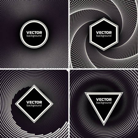Halftone dotted backgrounds set. Circle, hexagon, suare and triangle shape over vortex. Abstract monochrome vector illustration Иллюстрация
